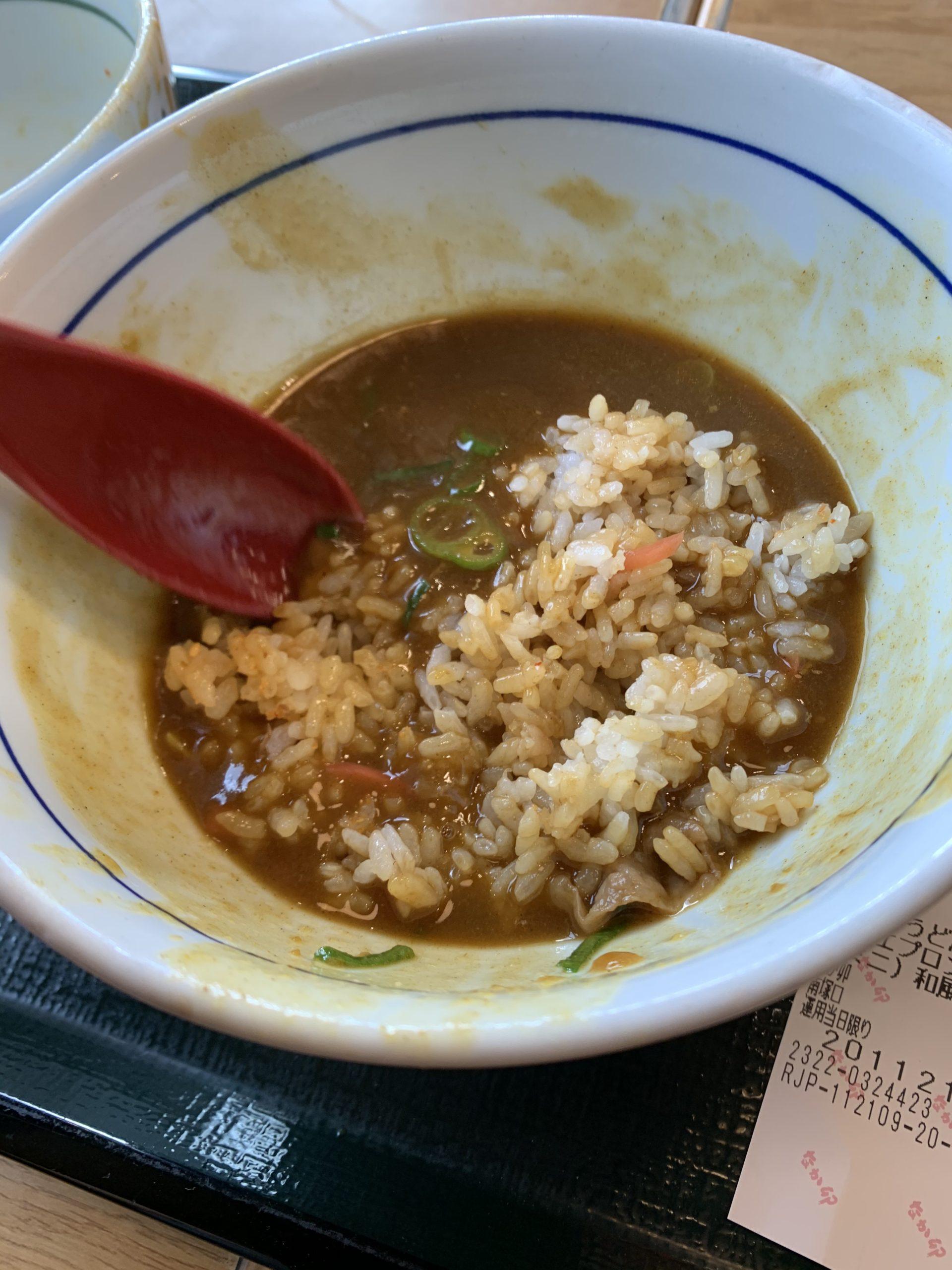 カレーうどんの汁+牛丼+紅生姜