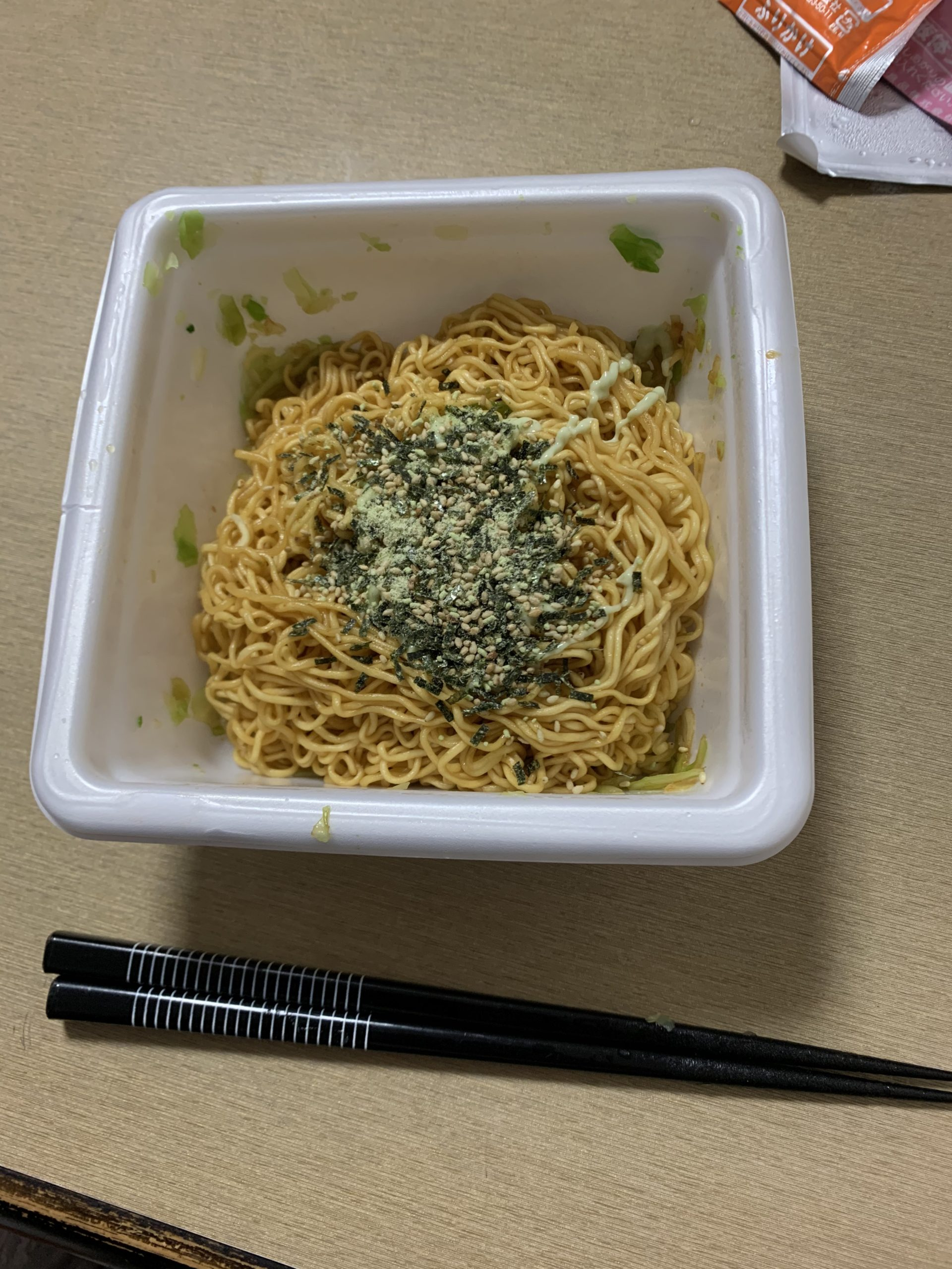 一平ちゃん夜店の焼きそば超わさび完成!